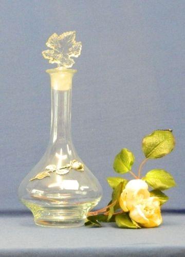 Glaskaraffe Zinnapplikation Rose