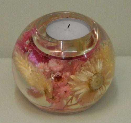 Glaskugel Pink Spring Teelichthalter